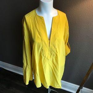 BCBGMaxAzria silk blouse women's sz sm yellow euc